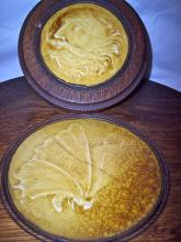 2 SIGNED LOW ART TILES BUTTERFLY & NORTH WIND GOD