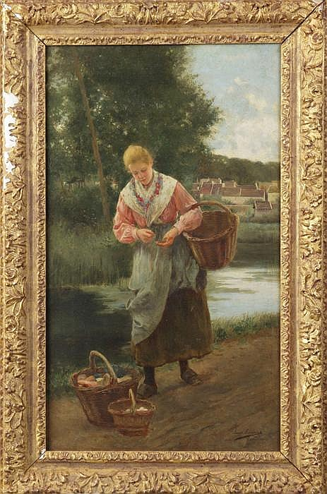 Luis Jimenez Aranda (Spanish, 1845-1928) Young lady w/vegetable basket