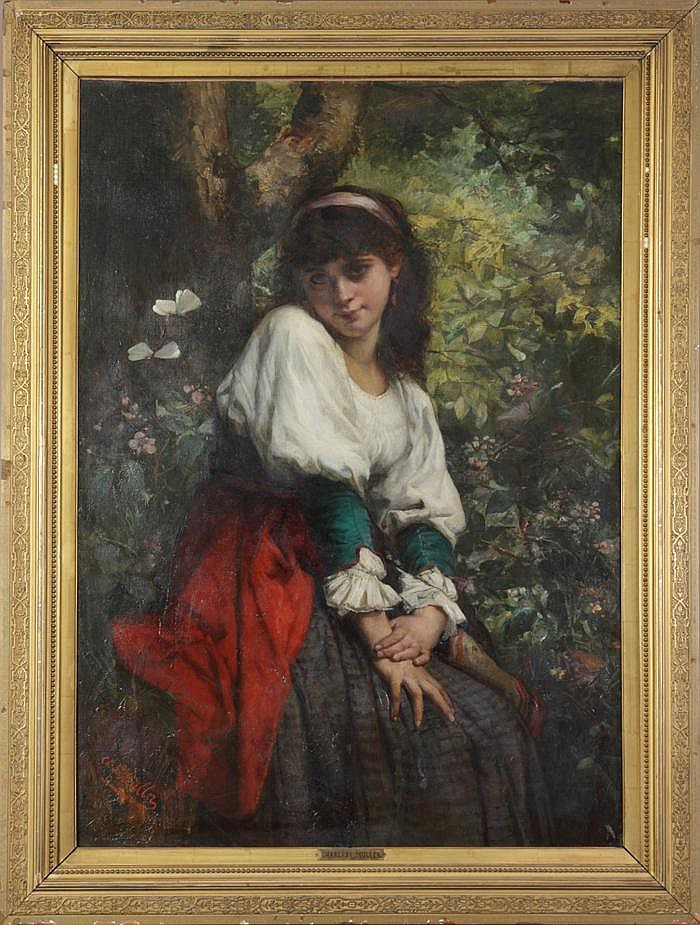 Charles Louis Lucien Muller (Paris 1815-1892)  Young lady w/red skirt