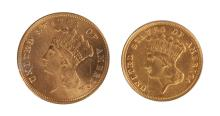 Two Three Dollar Gold Coins
