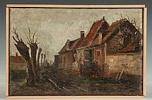 Attr. to Charles Gruppe (American, 1860-1940) Village Scene