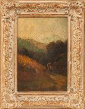 19th cent. Painting of Figures in Mountain Landscape