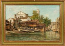 Painting of a Canal Scene