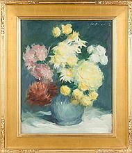 Jere Raymond Wickwire (American, 1883-1974) Still Life, Vase with Chrysanthemums