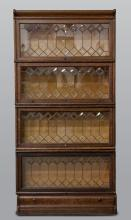 Macey Stacking Bookcase with Leaded & Beveled Glass Doors and Drawer