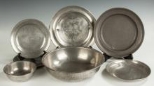 Group of Pewter Trays and Bowls