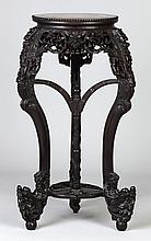 Chinese Carved Hardwood Marble Top Stand