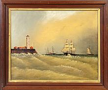 19th Cent. Painting of Ships & lighthouse