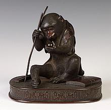 Japanese Bronze Seated Monkey with Ball