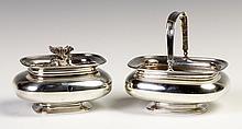 Glasgow, Ireland, Silver Handled Sugar Basket & Tea Caddy