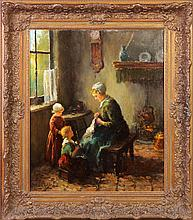 19th cent. Painting of Women & children sewing