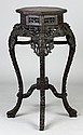 Chinese Carved Hardwood Stand w/Marble Top