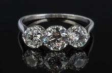 Ladies Platinum and Three-Diamond Vintage Ring