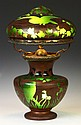 Unusual Lamp w/Engraved Owls & Landscape w/Copper Overlay
