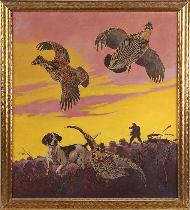 Sgn. Lynn Bogue Hunt (1878-1960) Bird hunters