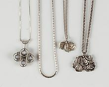 Four Vintage Sterling Silver Necklaces