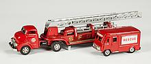 Vintage Japan Tin Plate Fire Engine & Rescue Truck