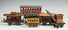 Five Bing & German Tin Plate Train Cars
