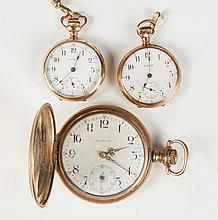 Three Gold Plated Pocket Watches