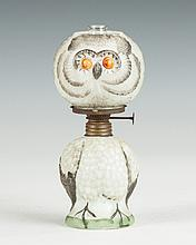 Miniature Hand Painted Milk Glass Owl Lamp
