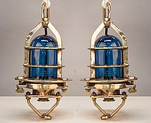 Two Vintage British Convy Brass Ship's Lights with Blue Globes