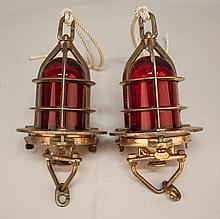 Two Vintage British Convoy Brass Ship's Lights with Red Globes