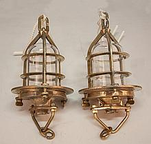 Two Vintage British Convoy Brass Ship's Lights with Clear Globes