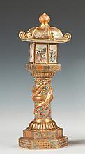 Japanese Satsuma Pagoda Style Hand Painted & Enameled Covered Vase