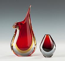 Contemporary Art Glass Vase & Orrefors Vase