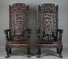 Pair of Chinese Carved Hardwood Throne Chairs