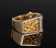 14K Gold Nugget & Diamond Ring