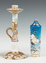 Japanese Satsuma Hand Painted Candle Holder & Vase with Crane