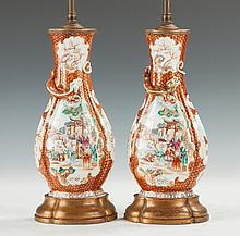 Chinese Hand Painted Famille Rose Reticulated Porcelain Vases