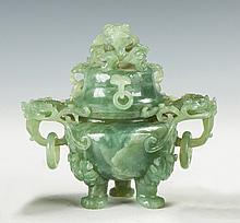 Chinese Carved Jade Censer with Dragons