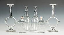 Pair of Glass Candlesticks, Engraved Crystal Decanters &  Orrefors Glass Decanters