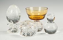 Steuben Paperweights, Glass Sherbet & Baccarat Cat