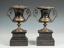 Patinaed Metal & Marble Classical Style Urns