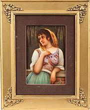 German Hand Painted Porcelain Plaque of a Young Lady