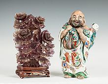 Carved Rock Crystal Covered Vessel & Japanese Porcelain Figure