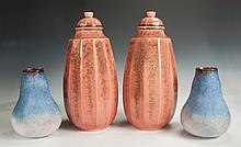 Pair of Sevres Porcelain Covered Urns & French Pottery Vases