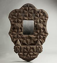 Carved Tramp Art Wall Mirror & Box