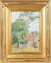 Emma Lampert Cooper (American, 1855-1920) Cottage scene