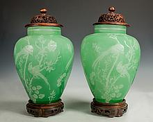 Pair of Steuben Jade Cut to Alabaster Lamps with Birds