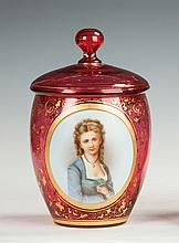 Cranberry Enameled Covered Jar with Painted Portrait