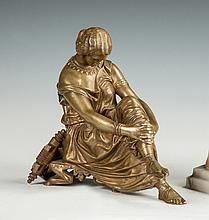 Victorian Bronze of a Seated Lady with Lyre