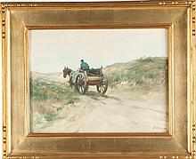 Charles Paul Gruppe  (American, 1860-1940) Man with horse drawn cart