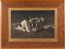 Alexander Pope (American, 1849-1924) Dog with leopard rug