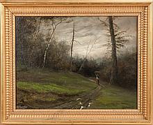 Landscape with trail & figure