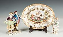 Capodimonte Porcelain Figural Group, Plate & Meissen Figurine