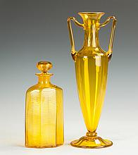 Steuben Bristol Yellow Threaded Bottle & Handled Vase